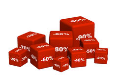 Red boxes with the goods at a discoun Royalty Free Stock Photography