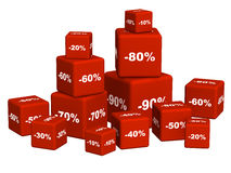 Red boxes with the goods at a discoun Royalty Free Stock Photos