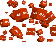 Red boxes with the goods at a discount Royalty Free Stock Photography