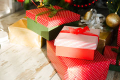 Red boxes packed with Christmas gifts Stock Photography