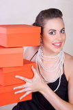 Red boxes woman Royalty Free Stock Images