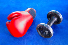 Red boxing glove and old dumbbells  on blue exercise mat Royalty Free Stock Images