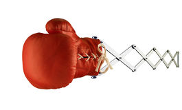 Red boxing glove on spring. Red boxing glove isolated on spring Stock Image