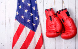 Red boxing gloves with an American flag Stock Photo