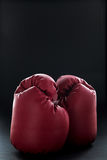 Red boxing gloves on black Royalty Free Stock Image