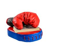 Red boxing gloves with dollar bills on a white background royalty free stock image