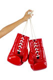 Red boxing gloves on hands isolated on white Stock Photography