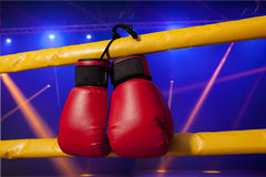 Red boxing gloves hangs off the boxing ring Royalty Free Stock Image