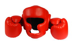 Red boxing-gloves and helmet. On the white background. (isolated Stock Image