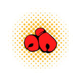 Red boxing gloves icon, comics style Stock Photos