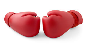 Red boxing gloves isolated Stock Photo