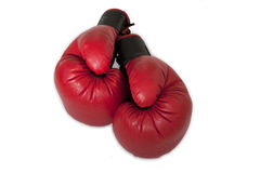 Red boxing gloves isolated on white background. Red and black boxing gloves isolated on white background Stock Photo