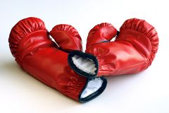 Red boxing gloves on white Royalty Free Stock Images