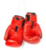 Red boxing gloves on white background Royalty Free Stock Photos