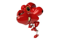A red boxing robot hands up Stock Photos
