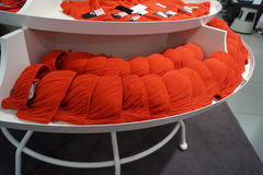 Red bra. Exposed in a shop of underwear HM in Rome Stock Photography