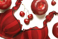 Red bra fruits beauty still-life Stock Photography