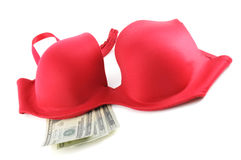 Red Bra with Money Stock Photo