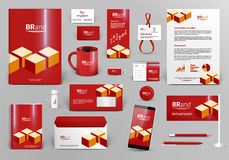 Red branding design kit with bricks. Premium corporate identity template. Business stationery mock-up and documentation with logo. Editable vector illustration Royalty Free Stock Photo