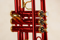 Red brass trumpet Royalty Free Stock Photo