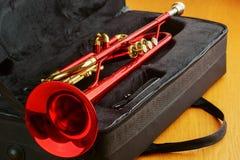 Red brass trumpet Stock Photo