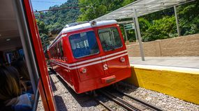 Red Brazilian Train Best Jungle, Tijuca Rio de Janeiro royalty free stock photography