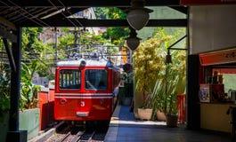 Red Brazilian Train Best Jungle, Tijuca Rio de Janeiro Stock Photo