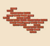 Red brick. A illustration of exposed red bricks on neutral background with space for text Vector Illustration