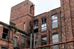 Abandoned Mill. The red brick abandoned cotton mill in Wigan Royalty Free Stock Photo