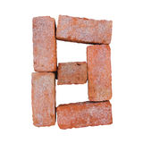 Red brick alphabet font on white background isolated with clipping path Royalty Free Stock Image