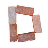 Red brick alphabet font on white background isolated with clipping path Stock Photos