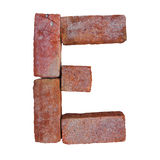Red brick alphabet font on white background isolated with clipping path.  Stock Images