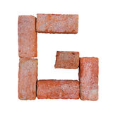 Red brick alphabet font on white background isolated with clipping path.  Royalty Free Stock Photos