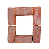 Red brick alphabet font on white background isolated with clipping path.  Royalty Free Stock Images