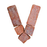 Red brick alphabet font on white background isolated with clipping path.  Royalty Free Stock Image