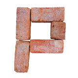 Red brick alphabet font on white background isolated with clipping path.  Royalty Free Stock Photo