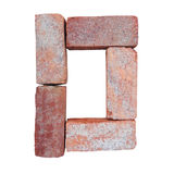 Red brick alphabet number font on white background isolated with clipping path.  Royalty Free Stock Image