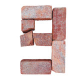 Red brick alphabet number font on white background isolated with clipping path.  Royalty Free Stock Photography