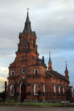 Red brick ancient catholic cathedral in gothic style in Vladimir Stock Photography