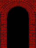 Red brick arch with black. Illustrated red brick arch with a black background stock illustration