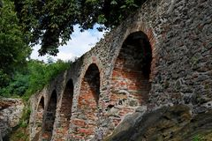 Red brick arches of medieval castle Royalty Free Stock Photos
