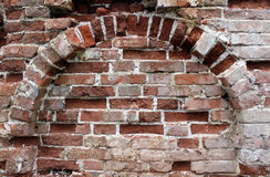 Red Brick Background. Close up Old Red Brick Arc Wall Background Stone Texture Stock Image
