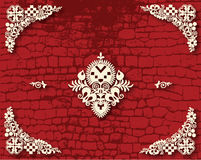 Red Brick background with folklore flowers Stock Image