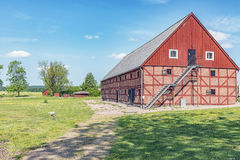 Red brick barn. An old red brick barn set in the rural countryside of Swedens Halland region Royalty Free Stock Photos