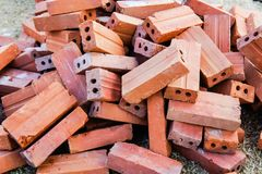 Red Brick Block Construction Equipment, Building Walls Royalty Free Stock Images
