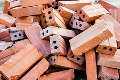 Red brick blocks in building construction stock photo