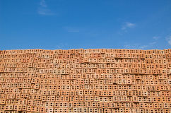 Red brick with blue sky Stock Images