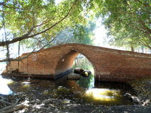 Red brick bridge. Ancient red brick bridge in Ayutthaya Royalty Free Stock Photo