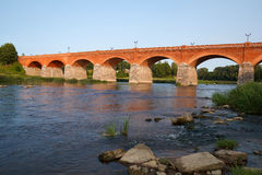 Red brick bridge Stock Photo
