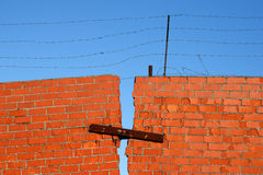 Red Brick broken Wall Royalty Free Stock Photography